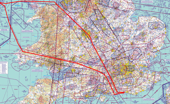 Within Ireland, three VFR flights were done Weston to Sligo, Sligo to Kerry, and Kerry to Weston. The routes were at low level (mostly around 2000ft but