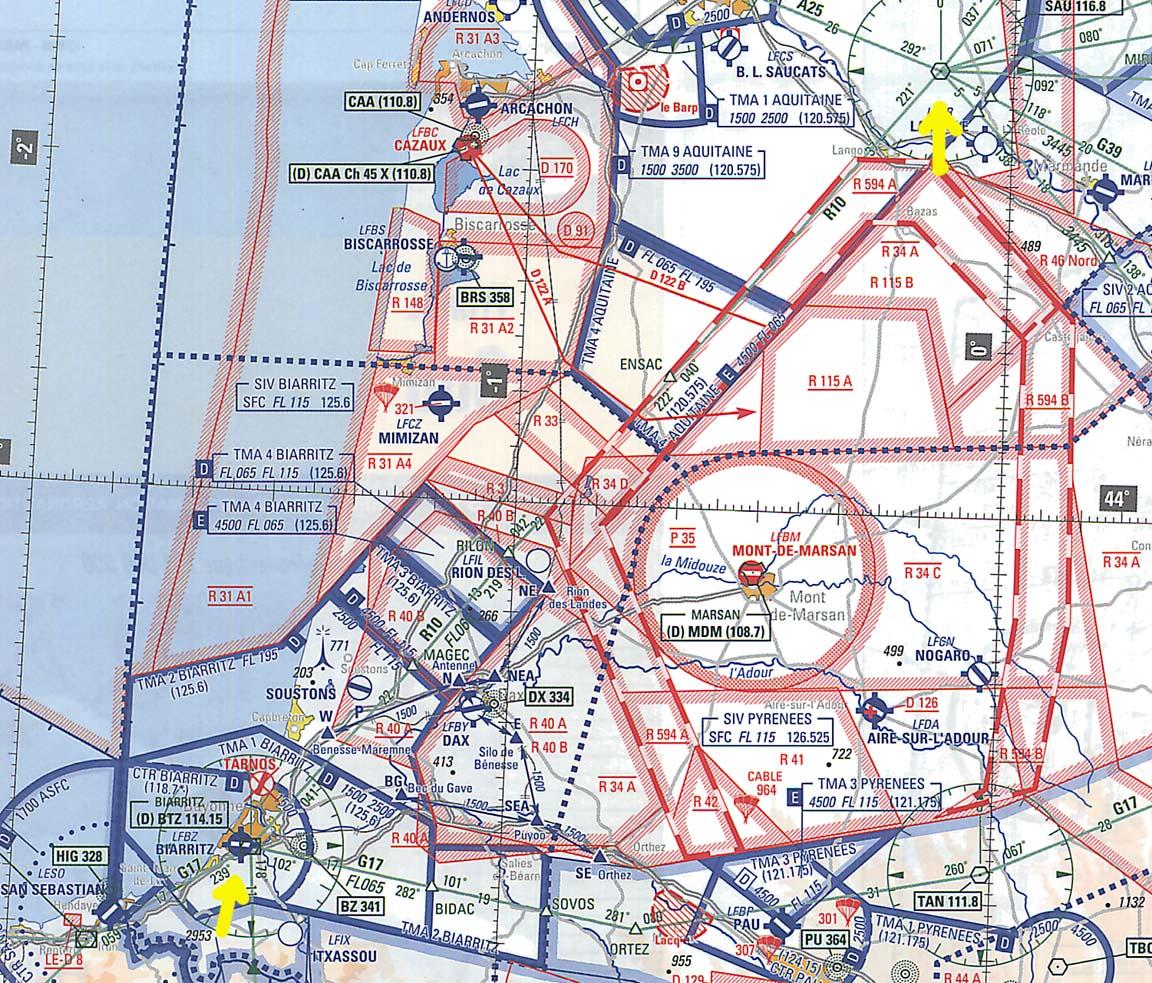 Shoreham To La Axarquia - Prohibited airspace map